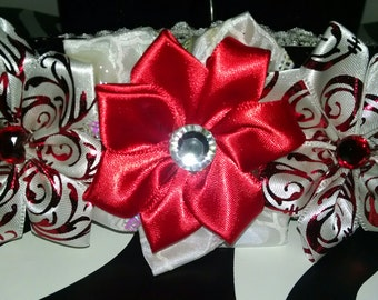 Red and white kanzashi flower headband