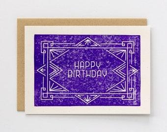 Birthday Card   Block Printed Card   Handmade Blank Greeting Card   Geometric   Art Deco   Linocut