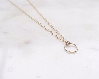 Gold Circle Necklace | Circle Necklace | Gold Hoop Necklace | Hoop Pendant Necklace
