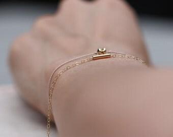 14kt Gold-Filled Tube Bracelet / Gold Tube Bracelet / Gold Bar Bracelet / Minimalist Gold Tube Bracelet