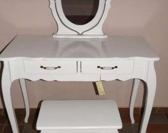 Rococo Solid wood set mirror, table and chair