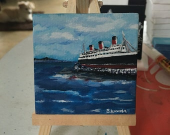 Queen Mary Long Beach California minicanvas handmade acrylic art