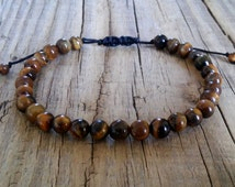 Natural brown tiger eye gemstone bracelet – tiger eye stone bead bracelet – energy power feng shui mala healing make money crystal bracelet
