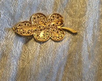 Vintage Hollywood Leaf Brooch