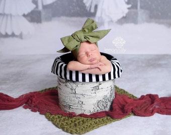 Green Chambray Head wrap, Olive Chambray head wrap,  fabric head wrap, newborn headband, baby headband, toddler headband, baby head wrap