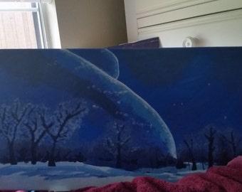 Blue Snowy Night Painting