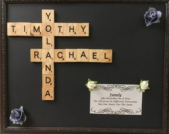 Customizable Family Tree Scrabble Art