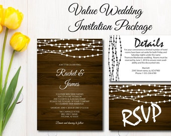 Rustic Wood With String Lights Wedding Invitation, Printable, Value Wedding Invite, RSVP, DIY Template, Instant Download, Editable PDF E16D
