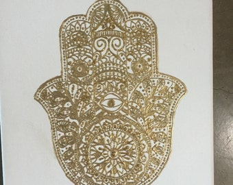 Gold Hamsa on canvas