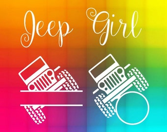Jeep girl monogram SVG DXF Eps split and circle frames Cut File for Silhouette studio and Cricut design space machines, instant download