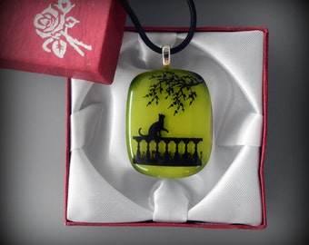 "Glass pendant with decal ""Cat under life tree""-glass jewel"
