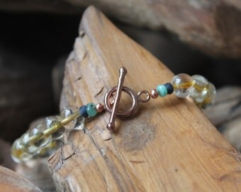 Citrine, Emerald and Sapphire Rose Gold Bracelet