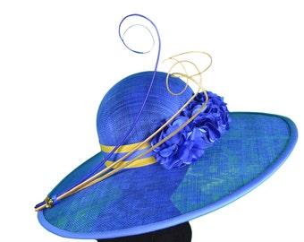 Royal Blue Hat, Wide Brimmed Hat, Melbourne Cup Hat, Spring Racing Hat, Fascinator, Racing headpiece, Womens/Ladies Hat, Designer Hat- EMILY