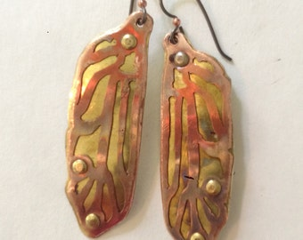 dragonfly wings handmade copper and brass riveted earrings
