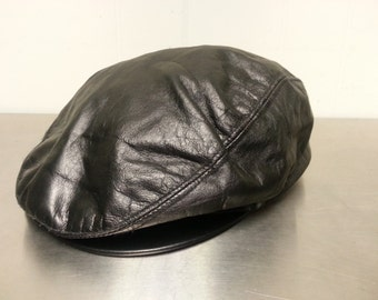 Vintage 80's Harvard Headwear Leather Newsboy Cabbie Hat Made In USA Size Large Dark Brown Golf Cap