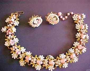 Robert Enameled Tulip Daisy Choker Necklace Earrings pink white flowers bridal set vintage