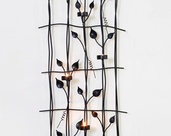 Wall Art Wrought Iron with Tea light Holders