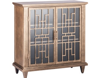 Buffet Sideboard Cabinet Storage Iron Glass Brass Colour