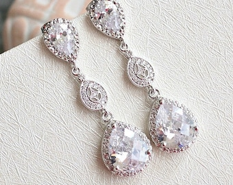 Bridal Wedding Earrings, Matte Rhodium Plated Cubic Zirconia Ear Posts With Shield Filigree CZ Connectors And Pear Crystal Drops.