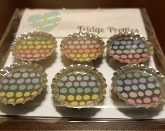 Rainbow Polka Dot Bottle Cap Magnets