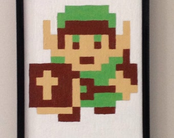 Nintendo NES Link pixel painting from Legend of Zelda