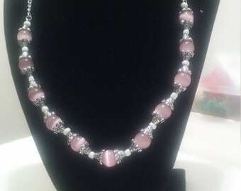 Pink cat's eye beaded necklace