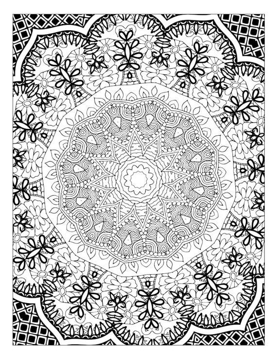 Kaleidoscope Art Coloring Page Mandala Adult Coloring