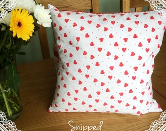 Red and White Polka Dot, 16 inch Cushion Cover With Polyester Insert.