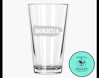 Boricua Puerto Rico etched Pint Glass - Puerto Rican pride