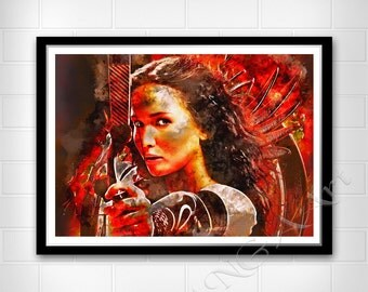 The Hunger Games Katniss Everdeen Instant Download Movie poster Trilogy Digital Print Wall print Watercolor art Watercolor poster Katniss