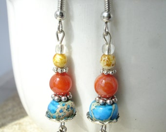 Boho Dangle Earrings, Multi with Wings