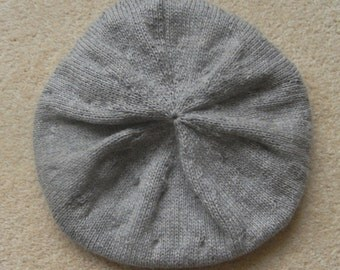 Lovely Handknitted Pure Cashmere Grey Beret