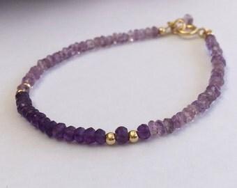Purple amethyst bracelet, Purple pendant, Gold filled bracelet, Amethyst gemstone, Amethyst bracelet, Purple amethyst, February Birthstone,