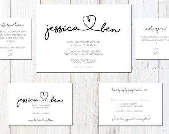 Printable Calligraphy Heart Wedding Suite - Customizable Wedding Invites - DIY Wedding Invitation Set