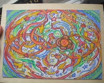 Happy Flowers original oil pastel painting