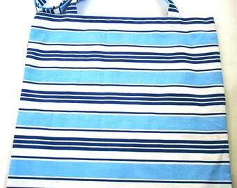 Shades of blue and white horizontal stripe tote bag - 100% cotton fabric bag - long straps - reusable shopping bag - fold up bag