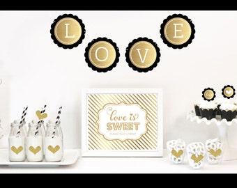 Black and Gold Party Decor Kit, bridal shower, wedding shower, black and gold glitter party decor, black and gold glitter wedding decoration