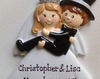 33% Off Personalized Wedding Bride and Groom Humorous Christmas Ornament- Wedding Gift , Favor