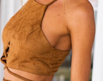 Brown faux Crop top