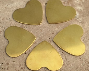 Brass Heart Blanks - 20-Guage Stamping Blanks - Jewelry Making Blanks - Tumbled Blanks - Deburred Brass Heart Blanks - Brass Shapes