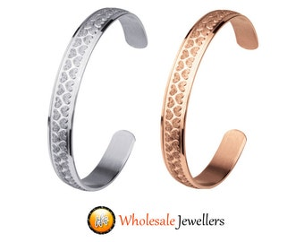 New Stainless Steel Rose Gold Silver Love Heart Womens Cuff Bracelet Bangle