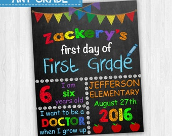 First Day Of First Grade, Back To School Signs, 1st Day Of School, Customized Grade School Signs, Chalkboard Signs, 1st Grade Signs