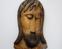 Vintage Hand Carved Wooden Jesus Face Wall Art - Folk Art Religious Carving of Christ  - Unique One of a Kind Jesus Carved Wall Art