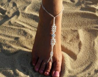 Rhinestone bridal barefoot sandals Bridal foot jewerly Pearl and Rhinestone Beach wedding Barefoot sandals wedding party