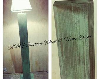 Wood Lamp. Rustic sage green distressed reclaimed tall floor lamp. Rustic wood home decor. Rustic decor.  Lamp. Home decor. Country decor.