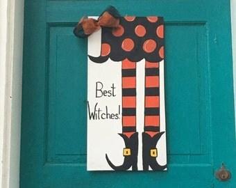 Best Witches // Fancy Feet // Happy Halloween // Fall Home Decor // Witch Door Hanger