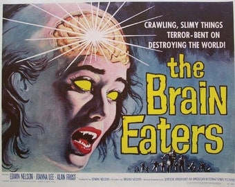 "LARGE SIZE Vintage Sci Fi Poster Print ""The Brain Eaters"" / B Movie Poster / Vintage Horror Movie Poster / Vintage Zombie Movie / Geeky Art"