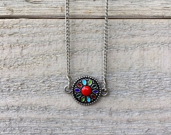 Multicolored flower charm necklace with silver chain
