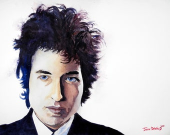 Original 11x14 Watercolor Painting of Bob Dylan