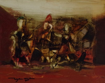 Abstract painting, Musicians, Figurative Modern original oil Painting, Handmade Contemporary art, One of a kind, signed